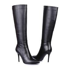 Women's Black Casual Leather High Heels Zip Up Knee High Boots Shoes US All Size