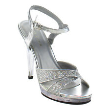 """FABULICIOUS FLA419G Women's New Fashion Hot Ankle Strap Sandal 4 1/2"""" Clear Heel"""