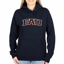 FAU Owls Women's Arch Name Pullover Hoodie - Navy Blue - College