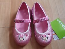 NWT GIRLS CROCS SHOES SZ 12, 13 PINK MARY JANE MINNIE MOUSE GLITTER