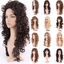 Long Brown Blonde Synthetic Wig Curly Straight Heat Resistant Full Wig With Bang