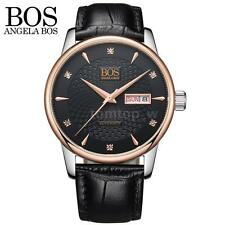 Luxury BOS Date Analog Dial Automatic Mechanical Men Genuine Leather Watch V3T0