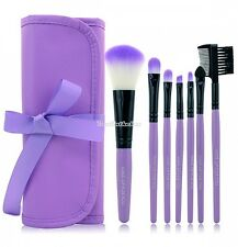 New 7PCS Professional Handle Makeup Cosmetic Brush Set With Case Purple / D0X8