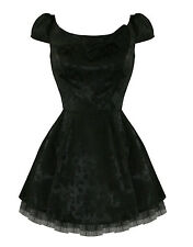 Hearts And Roses London Black Gothic Vintage 50s 60s Mini Party Prom Dress UK