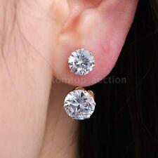 Fashion Front Back Double Sided Half-circle Zircon Crystal Ear Stud Earring C2R5