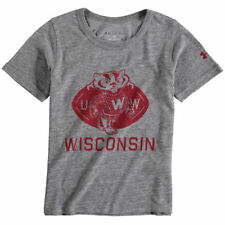 Wisconsin Badgers Under Armour Youth Uar Iconic Crewneck  T-Shirt - Gray