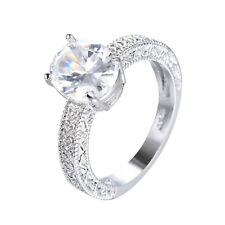 11*9MM Oval White Sapphire Wedding Ring 10KT White Gold Filled Jewelry Size 6-11