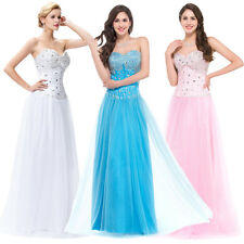 Girls Quinceanera Maxi Wedding Formal Evening Prom Ball Gown Grad Dress 3 Colors