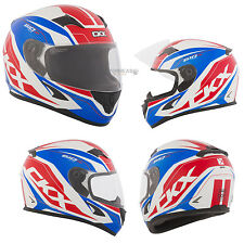 Motorcycle Full Face Helmet CKX RR610 Plus Red  Blue  White XLarge Adult New