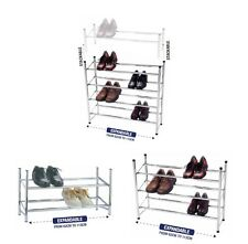 2 3 4 Tier CHROME Expandable Stackable Shoe Rack Organiser Storage Tidy Silver