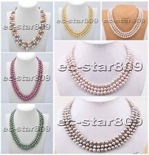 "D0171 3row 18"" 8mm Round freshwater pearl necklace"