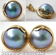 DM08 HUGE Genuine 19mm blue Mabe Pearl Ring earring pendant silver