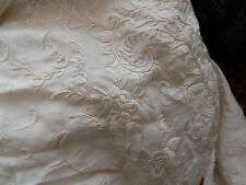 VICTORIAN PIANO SHAWL IN SILK  - LARGE - EMBROIDERED ECRU
