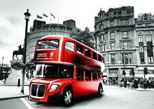 Red London Bus With Big Ben Art Print poster (17x13,24x18,32x24inch) Decor 01