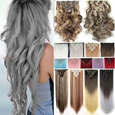 8 PCS Premium Clip In Human Hair Extensions Synthetic as Real Hair Extension g21