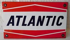 Vintage Authentic Atlantic Gas Oil Porcelain Pump Plate - Excellent!