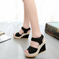 Women's Girl Faux Leather High Heel Platform Lace Peep Toe Beach Sandals Sanwood