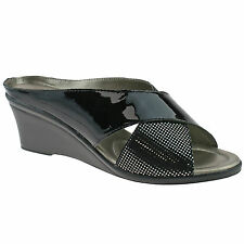 LADIES LOTUS TRINO BLACK PATENT SNAKE PRINT OPEN TOE WEDGE SANDALS SIZES 4 - 8