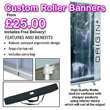 PREMIUM PRINTED ROLLER BANNER POP PULL ROLL UP - EXHIBITION SIGN DISPLAY STAND