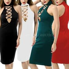 Womens Zipper Sleeveless Lace up Dress Bandages Bodycon Dress Club Party N7R3