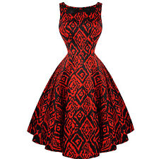 Hearts and Roses London Ravishing Red Tribal Print 50s Vintage Party Dress UK