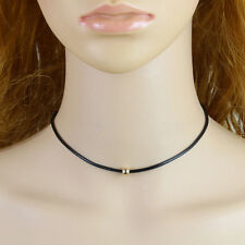 Black Leather Cord Choker Bead Charm Necklace Chain Pendant Vintage mh