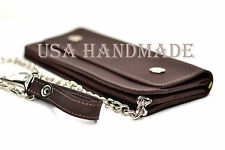 "Custom Handmade Leather USA Long Zipper 12"" Chain Wallet Purse Biker Motorcycle"