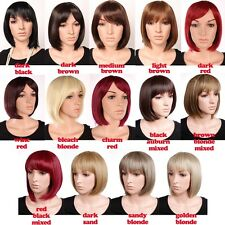 UPS Ship Heat Resistant Bob Full Wig Red Brown Blonde Ombre Wigs Full Bang Wig G