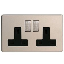 Varilight Screwless Brushed Stainless Steel/Black 2 Gang Double Switched Socket