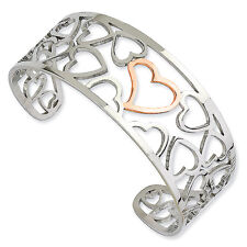 Stainless Steel And Rose Tone Plated Hearts Cuff Bangle