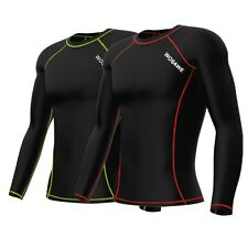 Mens Compression Under Base Layer Top Long Sleeve Tights Sports T-shirts Black