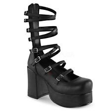 DEMONIA ABBEY-08 Women's Platform Chunky Heel Criss-Cross Buckled Straps Pumps