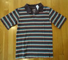 NWT THE CHILDRENS PLACE POLO SHIRT BROWN ORANGE STRIPED BOYS LARGE 10 / 12