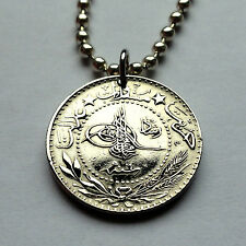 Turkey 20 para coin pendant Turkish necklace Tughra Ottoman Istanbul n000882