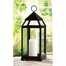 BULK LOTS Large Black Iron Contemporary Pillar Candle Lanterns with Clear Glass