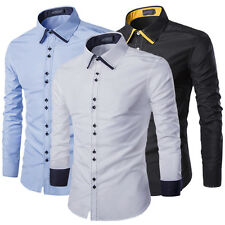 Stylish New Men's Slim Fit Casual Shirts Hit Colour Casual Long Sleeve Tops