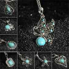 Vintage Cool Tibetan Silver Turquoise Bib Crystal Pendant Fashion Chain Necklace