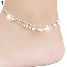 Women's Silver Plated Butterfly Stars Charms Anklet Bracelet Foot Chain Sanwood