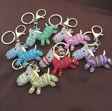 Donkey Animal Enamel Crystal Pendant Handbag Bag Purse Keychain Key Ring
