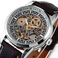 STEAMPUNK White Men's Automatic Mechanical Skeleton Brown Leather Wrist Watch