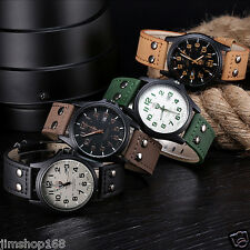Vintage Classic Men's Waterproof Date Leather Strap Sport Quartz Army Watch Hot