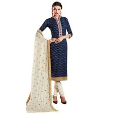 Ready Made Designer Brocade Cotton Embroidered Salwar Kameez-Mallika-02-8058