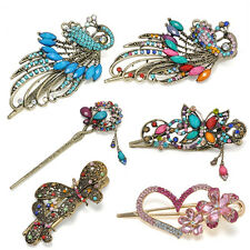Vintage Colorful Crystal Peacock Butterfly Retro Hairpins Hair Stick Hair Clip