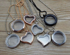 30mm Living Memory Floating Charm Glass Locket Pendant Necklace Chain
