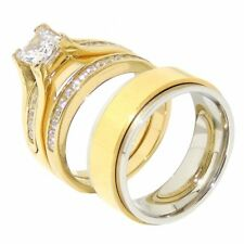 His Hers 3 PCS Gold IP Stainless Steel Engagement Ring Set /Mens Spinning Band