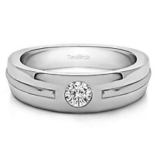 14k White Gold Solitaire Mens Fashion Ring Or Mens Wedding Ring With Diamonds (G