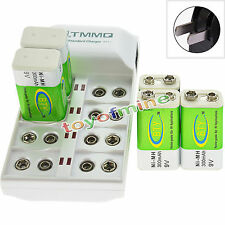 5x 9V 6F22 PPS 300mAh Ni-Mh Rechargeable Battery + 8 Slot Batteries Charger