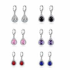 Promising jewelry! 18k white gold filled Pear Pink Sapphire dangle hoop Earrings