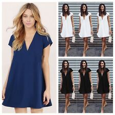 Trendy Women Sexy V-Neck Solid Slim Cocktail Party Chiffon Knee Dress 3 Colors
