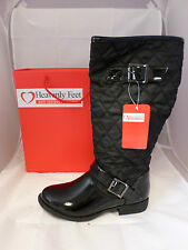 Heavenly Feet Opium Black Patent Quilted Boots Sizes 3 - 7uk EE 346